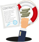 one arm holding lifebuoy ring with contract paper